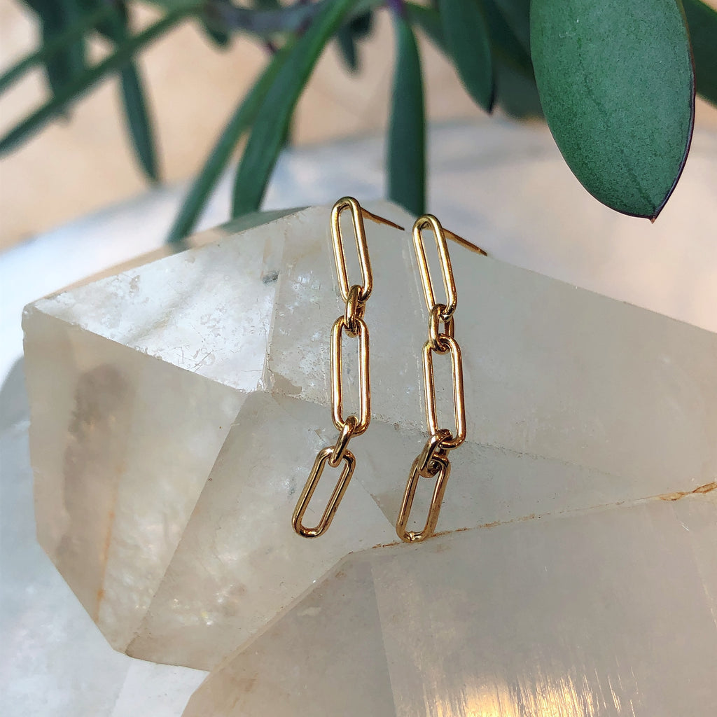 18K Gold Paperclip Chain Earring