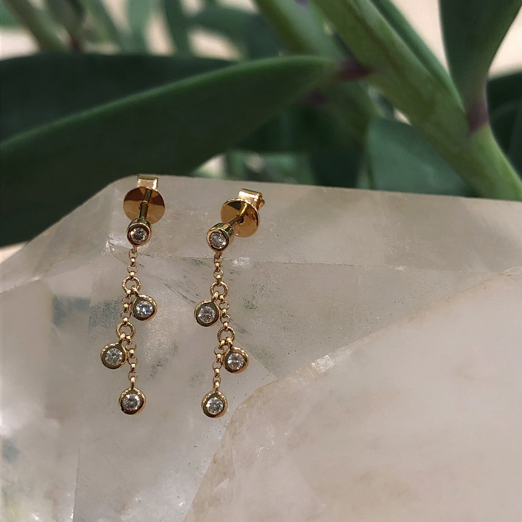 Four Diamond Raindrop Earrings