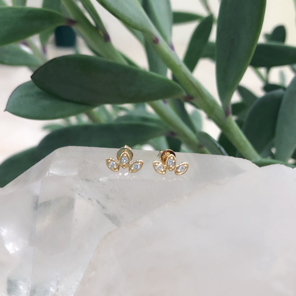 Three Petal Diamond Studs