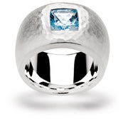 Ring SS with Topaz London blue 0.70ct - The French Door Jewellers