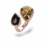 Ring SS/YG Plated with Smokey/Champagne Quartz - The French Door Jewellers