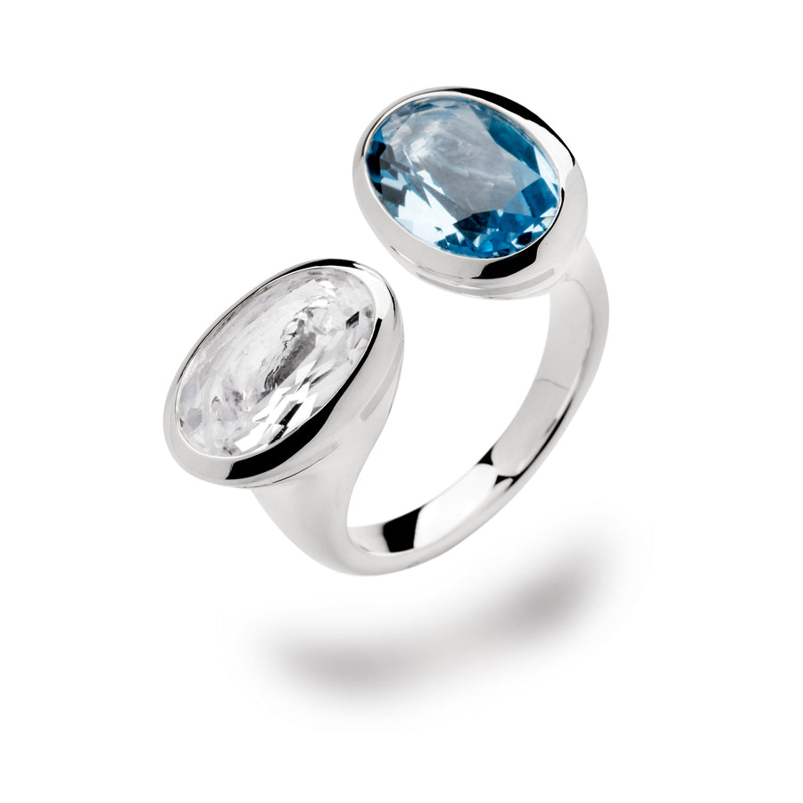 Bastian - SS Ring Sapphire and Sky Blue Topaz - The French Door Jewellers