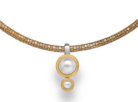 PENDANT SS/YG PLATING CC PEARL - The French Door Jewellers