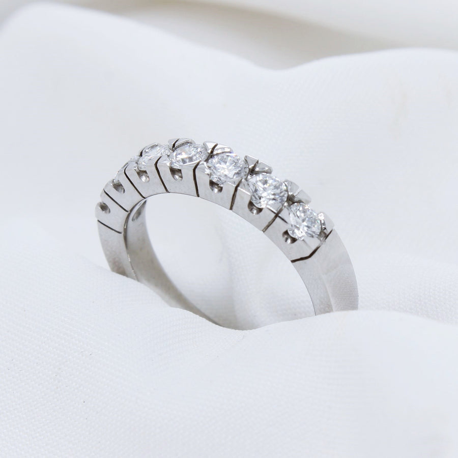 EGS - 18K White Gold Half Eternity Diamond Ring - The French Door Jewellers