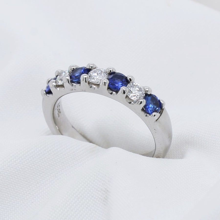 EGS - 18K White Gold Sapphire & Diamond Half Eternity Ring - The French Door Jewellers