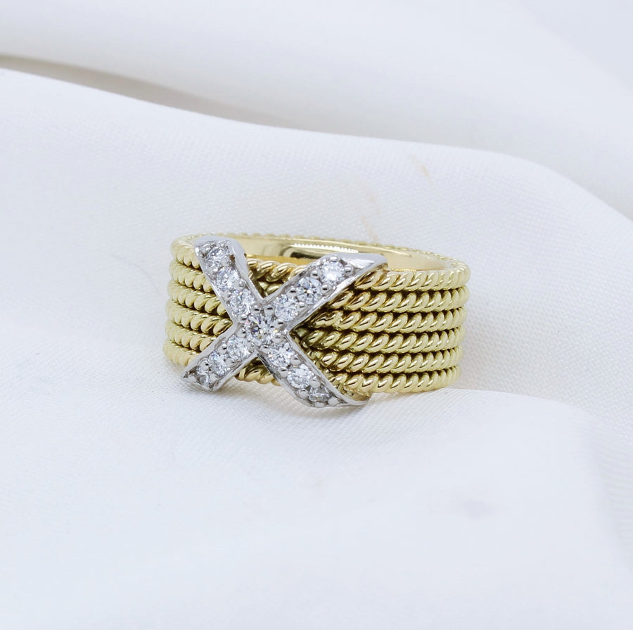 EGS - 18K Yellow Gold and Platinum Diamond Ring - The French Door Jewellers