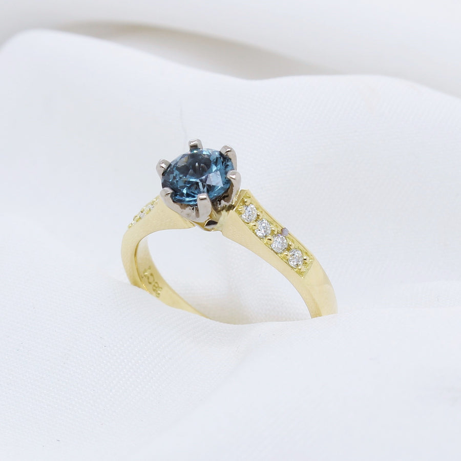 EGS -18K Yellow Gold Blue Green Tourmaline & Diamond Ring - The French Door Jewellers