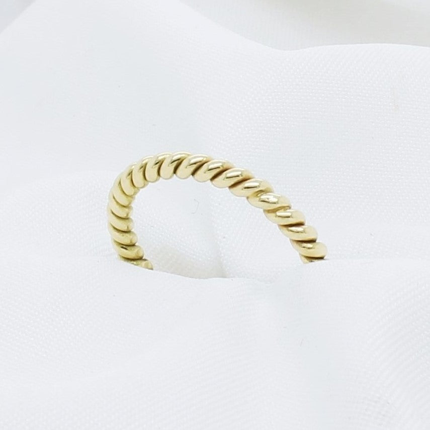 EGS - 18K Yellow Gold Stacking Ribbon/Twisted Ring - The French Door Jewellers
