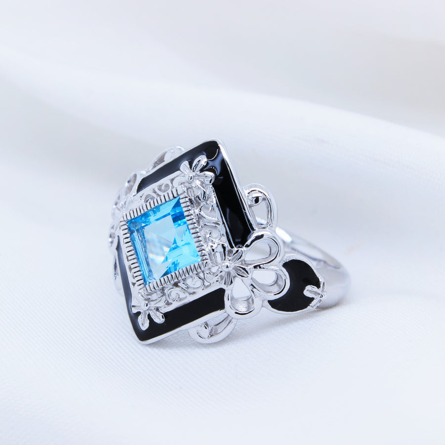 9K White Gold Blue Topaz Ring - The French Door Jewellers