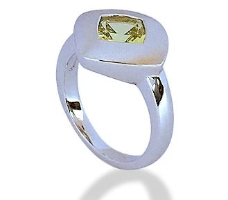 RING SS/RH WITH GREEN QUARTZ - The French Door Jewellers