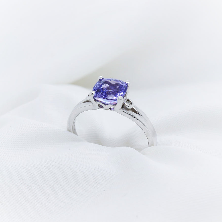 9K White Gold Tanzanite Diamond Ring - The French Door Jewellers