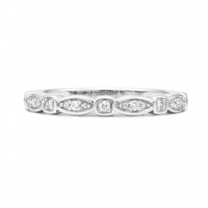 9K White Gold Diamond Stack Ring - The French Door Jewellers