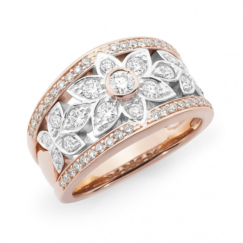 9K Rose & White Gold Diamond Dress Ring - The French Door Jewellers