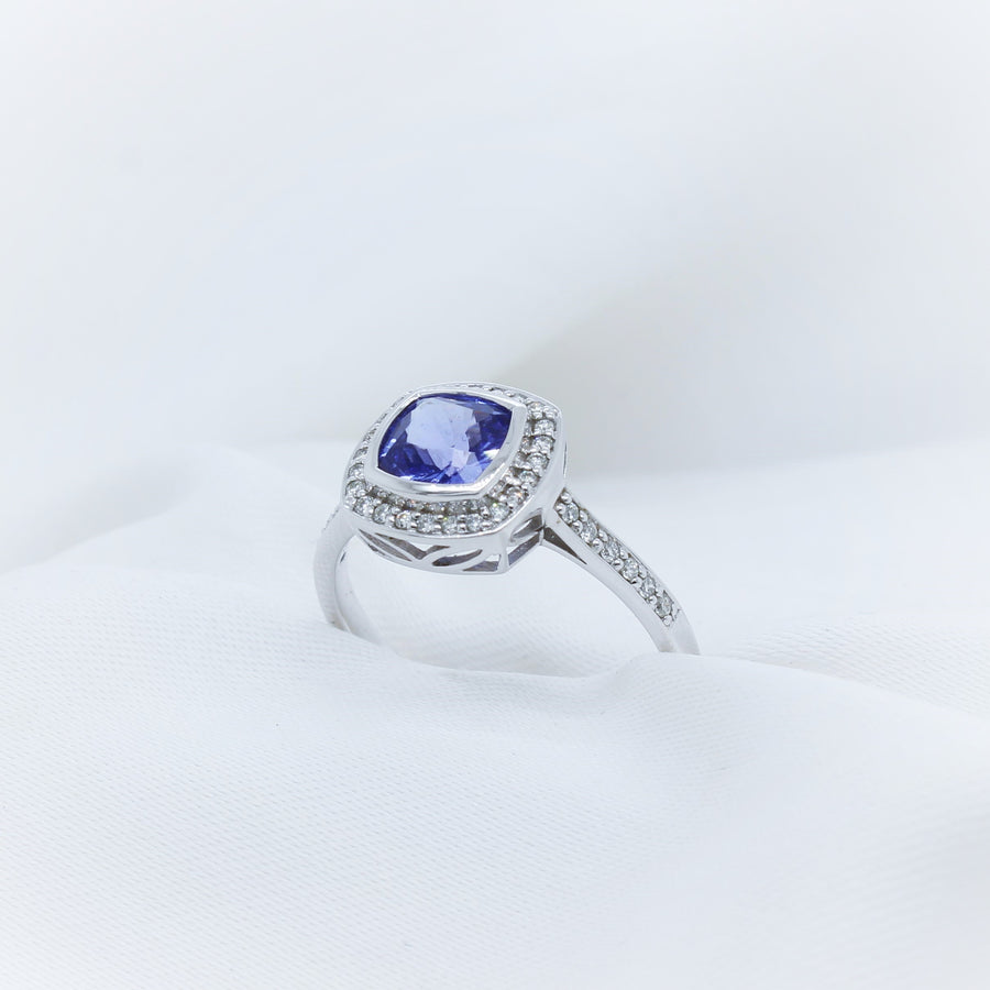 9K White Gold Tanzanite & Diamond Ring - The French Door Jewellers
