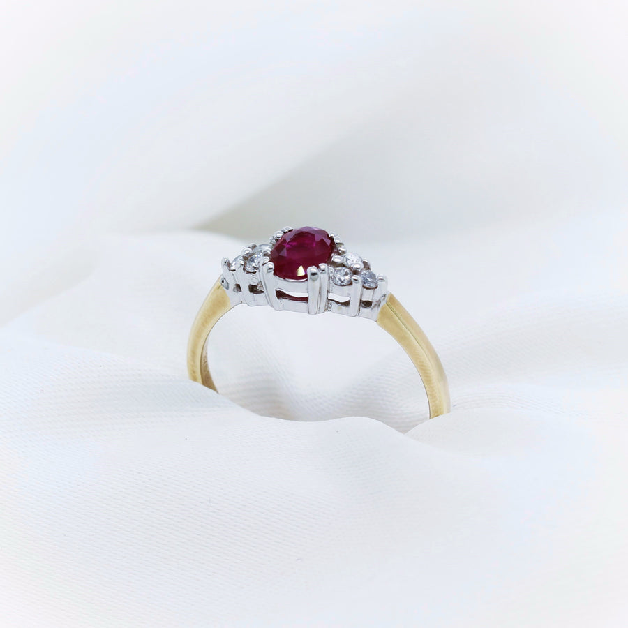 9K Yellow and White Gold Ruby & Diamond Ring - The French Door Jewellers