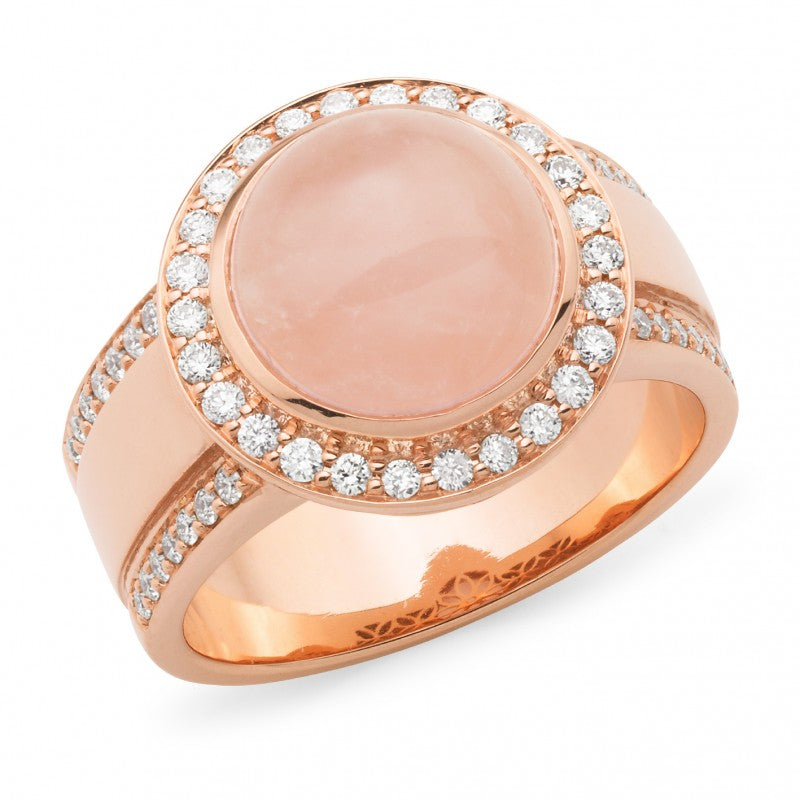 9K Rose Gold Rose Quartz & Diamond Ring - The French Door Jewellers
