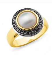 9K Yellow Gold Mabe Pearl & Diamond Ring - The French Door Jewellers