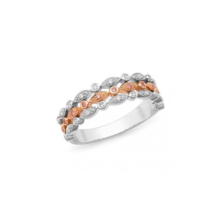 9K Rose & White Gold Pink Caviar Diamond Ring - The French Door Jewellers