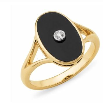 9K Yellow Gold Onyx and Diamond Ring - The French Door Jewellers