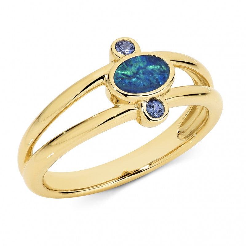 9K Yellow Gold Opal Ring - The French Door Jewellers