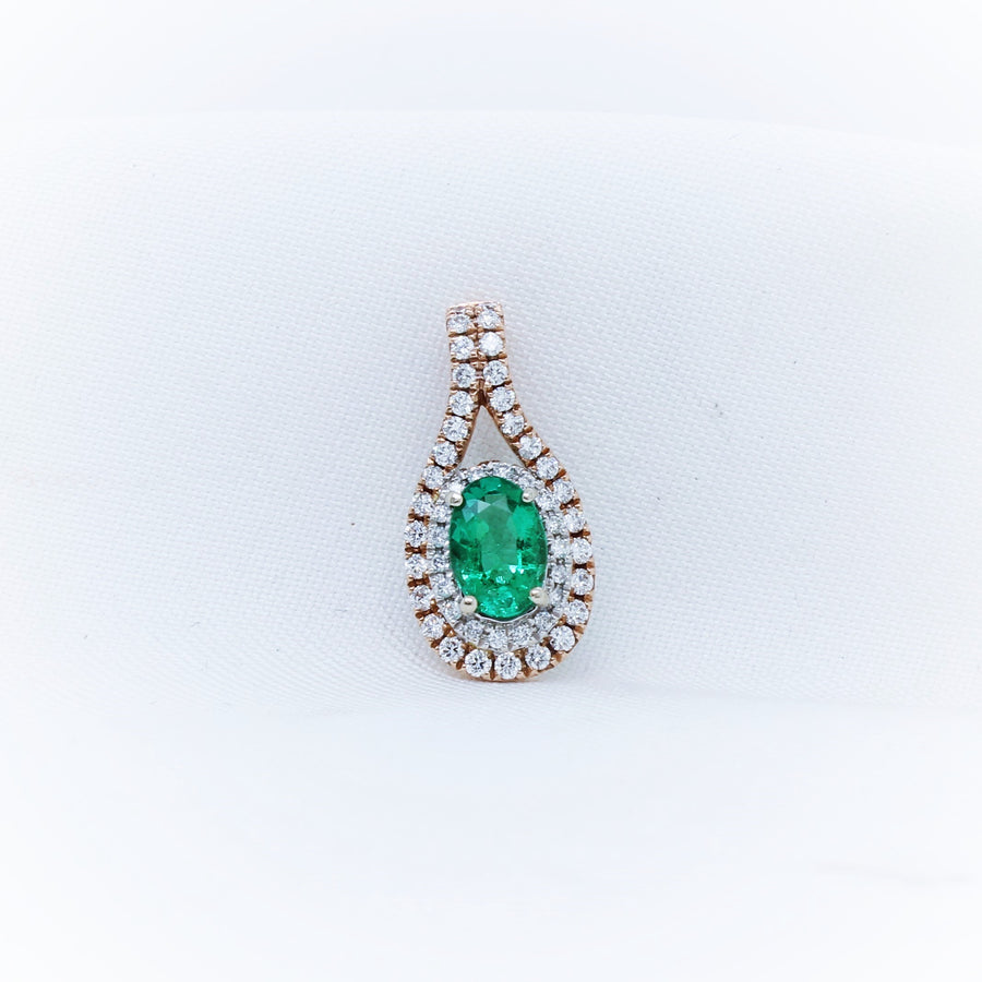 9k Rose and White Gold Emerald and Diamond Pendant - The French Door Jewellers