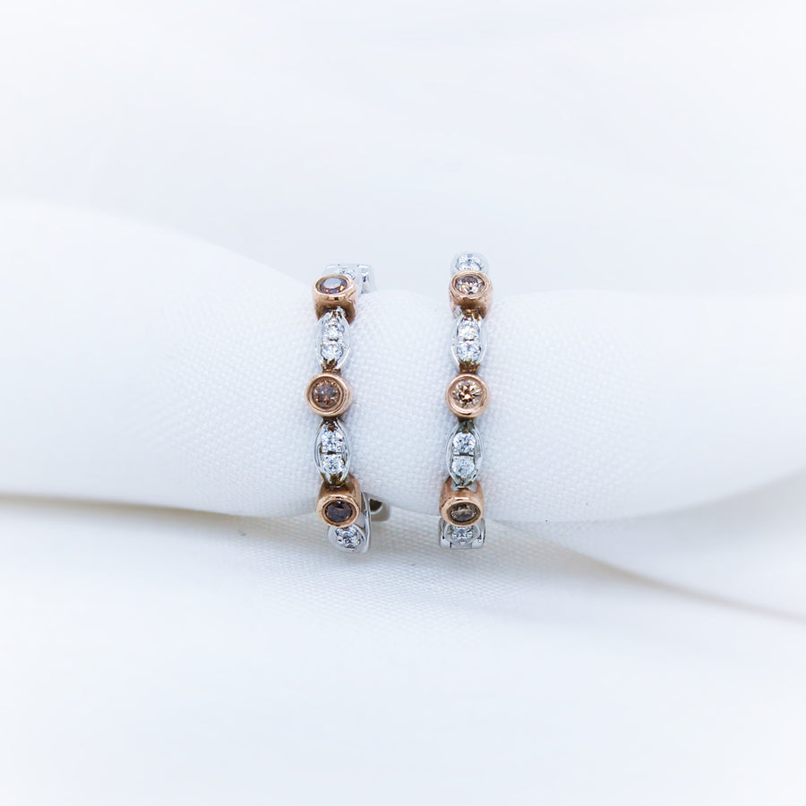 9k Rose and White Gold Diamond Earrings - The French Door Jewellers