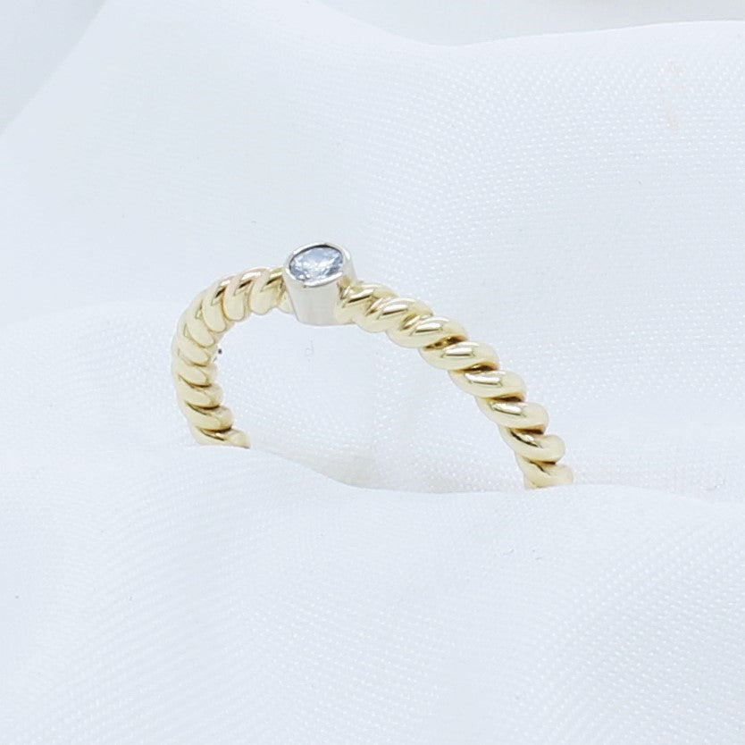 EGS - 9K Yellow Gold Stacking Diamond Ring - The French Door Jewellers
