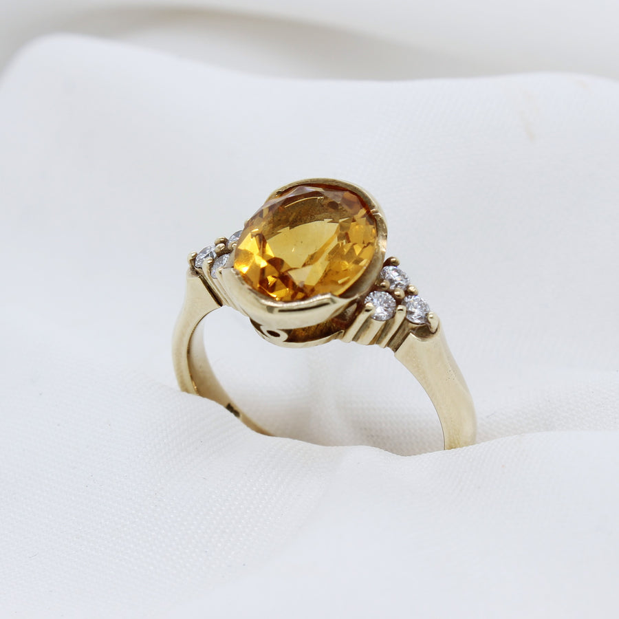 EGS - 9K Yellow Gold Citrine & Diamond Ring - The French Door Jewellers