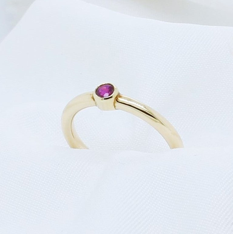 EGS - 9K Yellow Gold Stacking Ruby Ring - The French Door Jewellers