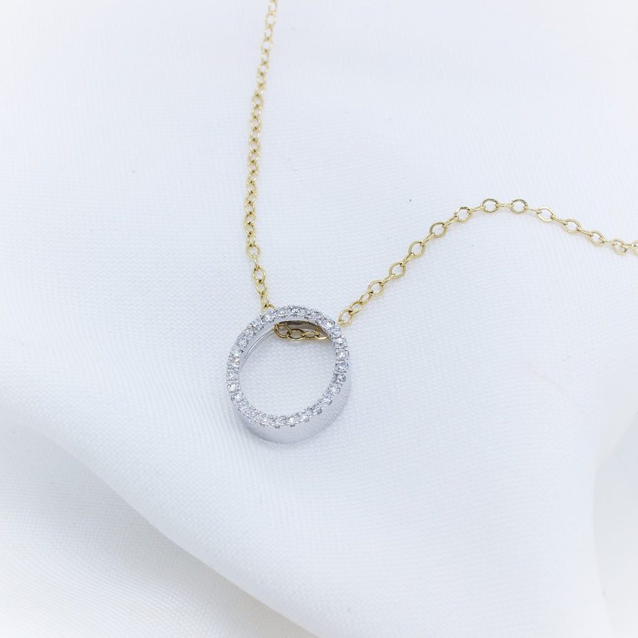 9k Yellow Gold Diamond Oval Pendant - The French Door Jewellers
