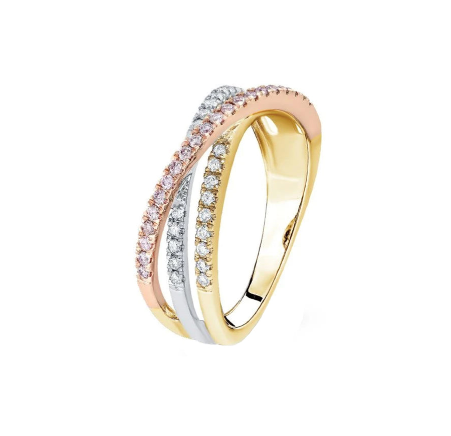 Argyle BLUSH AIDA Dress Ring -18K Three Gold (R/W/Y) - The French Door Jewellers