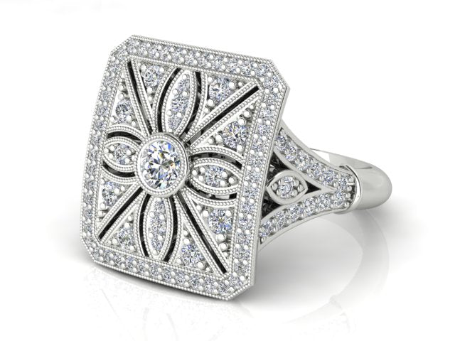 18k White Gold Antique Style Diamond RIng - The French Door Jewellers