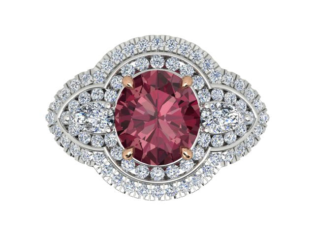 18K White Gold Pink Tourmaline Ring - The French Door Jewellers