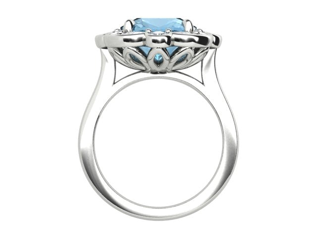 18k White Gold Aquamarine and Diamond Ring - The French Door Jewellers