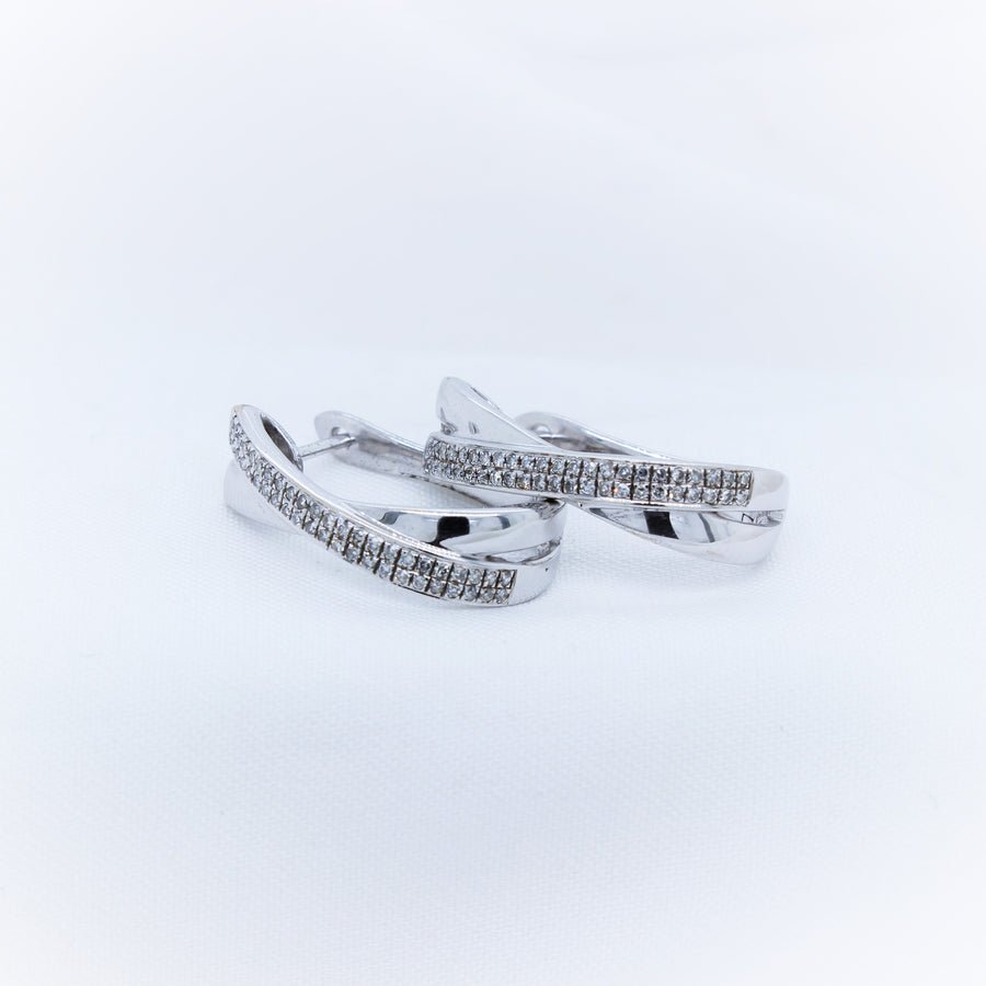 9k White Gold Diamond Earings - The French Door Jewellers