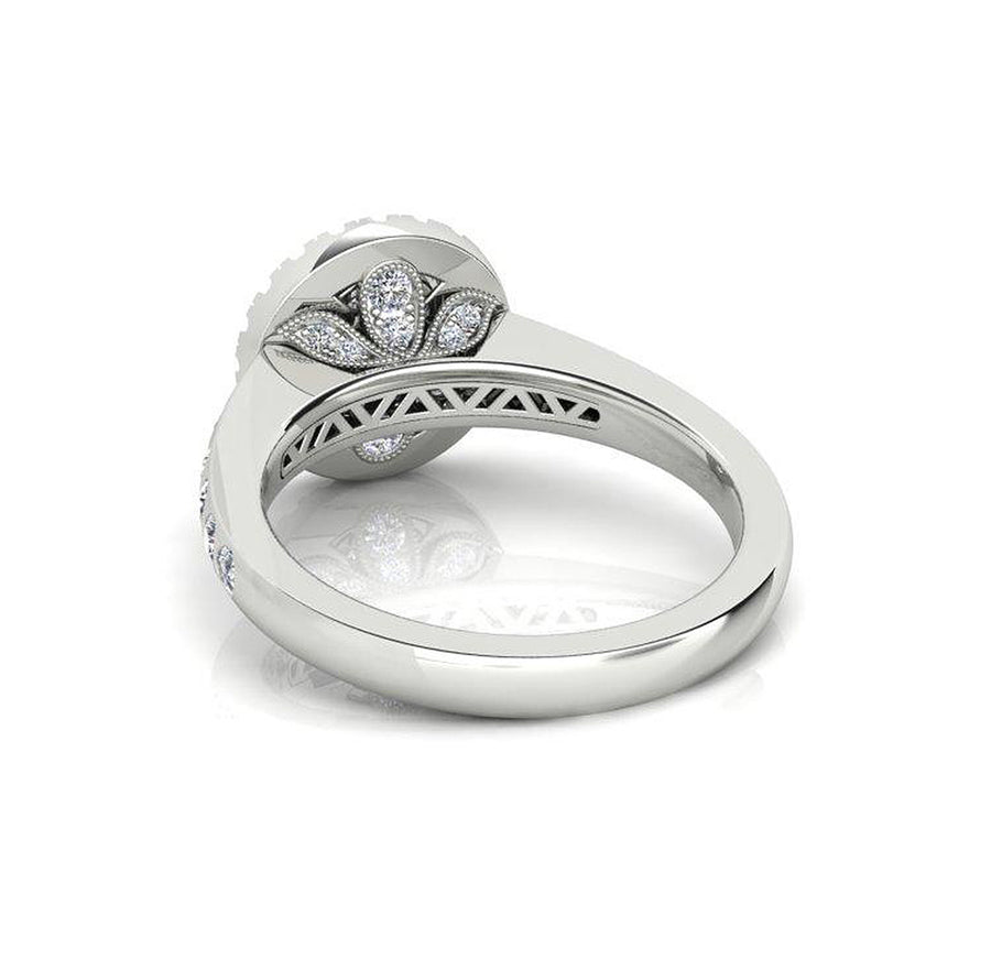 18k White Gold Engagement Ring with Illusion Diamond Setting - The French Door Jewellers