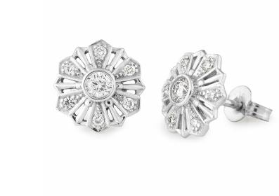 9K White Diamond Earring - The French Door Jewellers