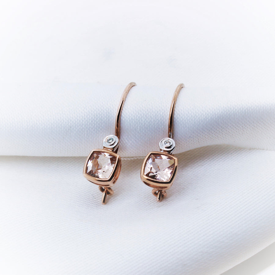 9K Rose Gold Morganite & Diamond Earring - The French Door Jewellers