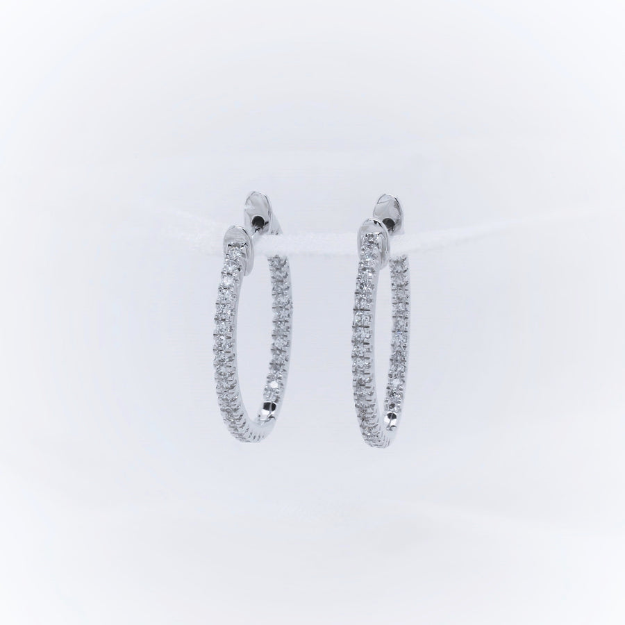 9K White Gold Diamond Earring - The French Door Jewellers