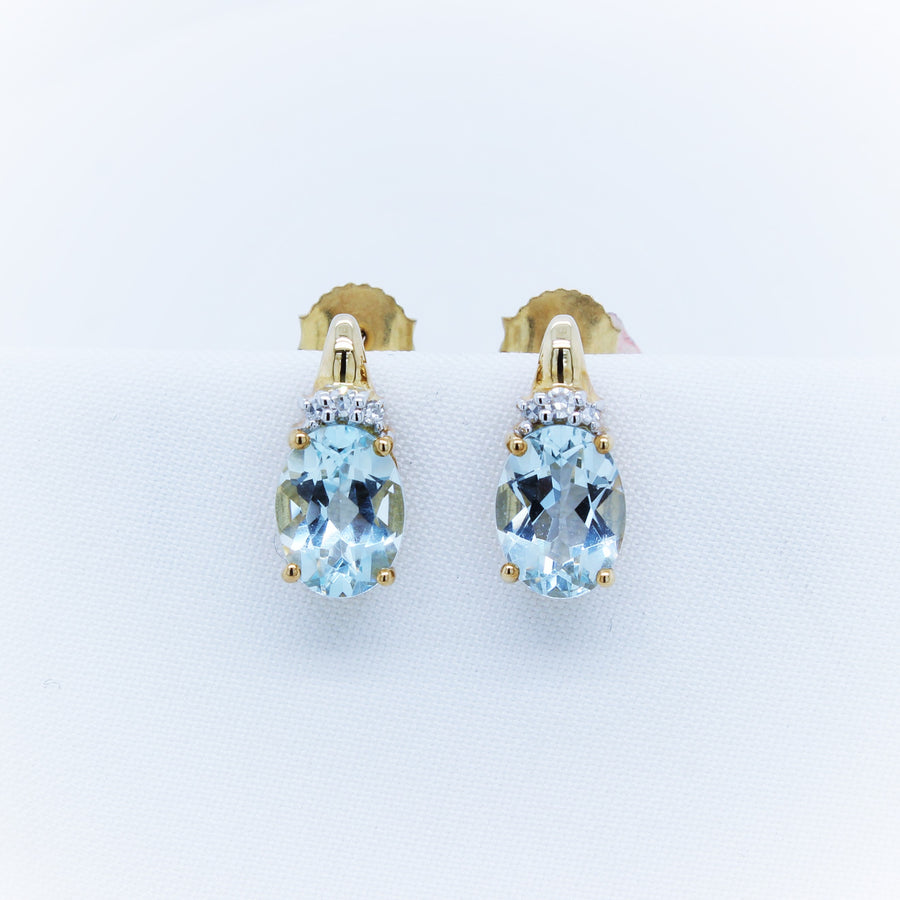 9K Yellow Gold Aquamarine & Diamond Earring - The French Door Jewellers