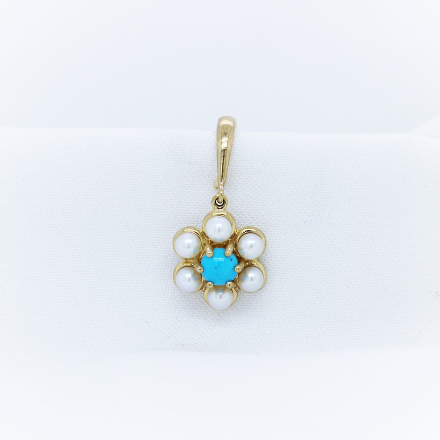 9K Turquoise and Pearl Pendant - The French Door Jewellers