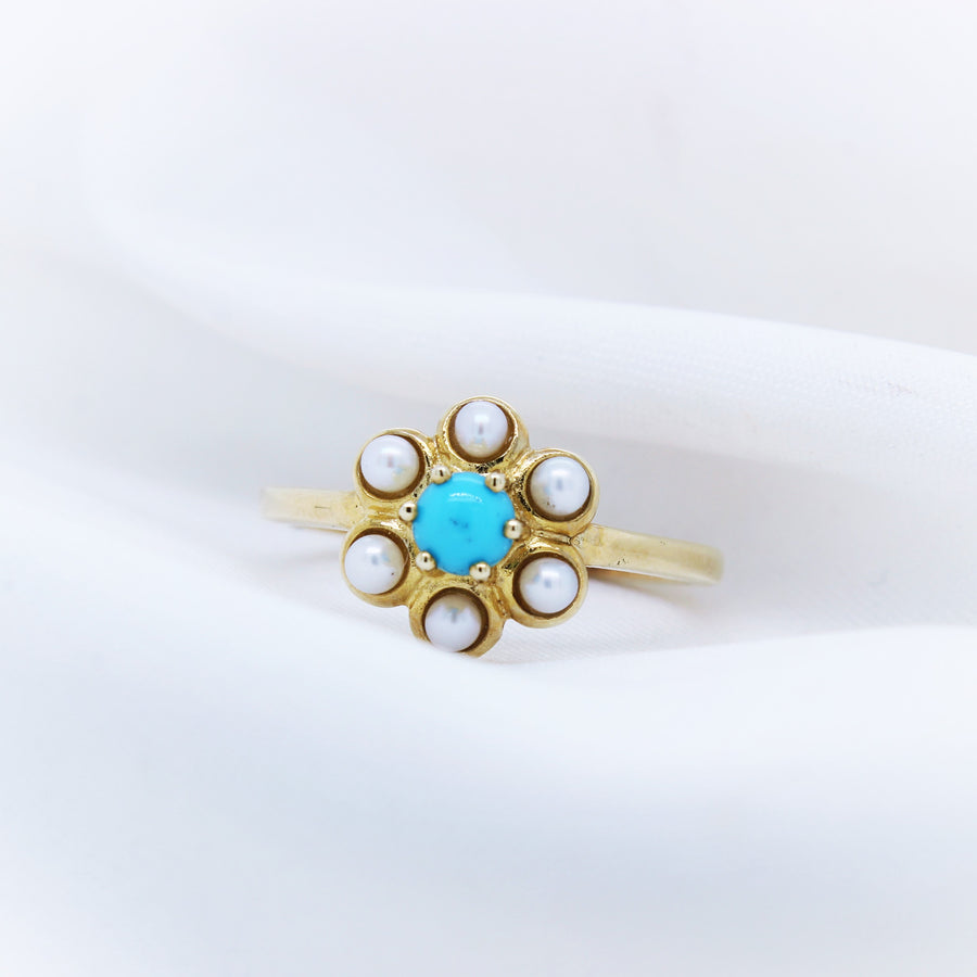 9K Turquoise and Pearl Ring - The French Door Jewellers