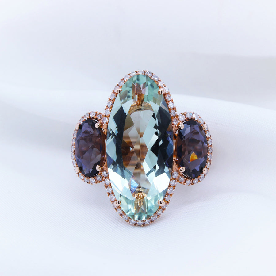 9K Rose Gold Green Amethyst and Iolite Ring - The French Door Jewellers
