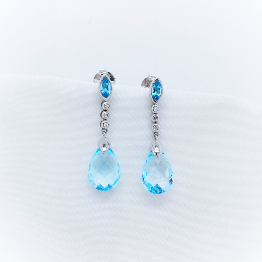 9K White Gold Blue Topaz and Diamond Earrings - The French Door Jewellers