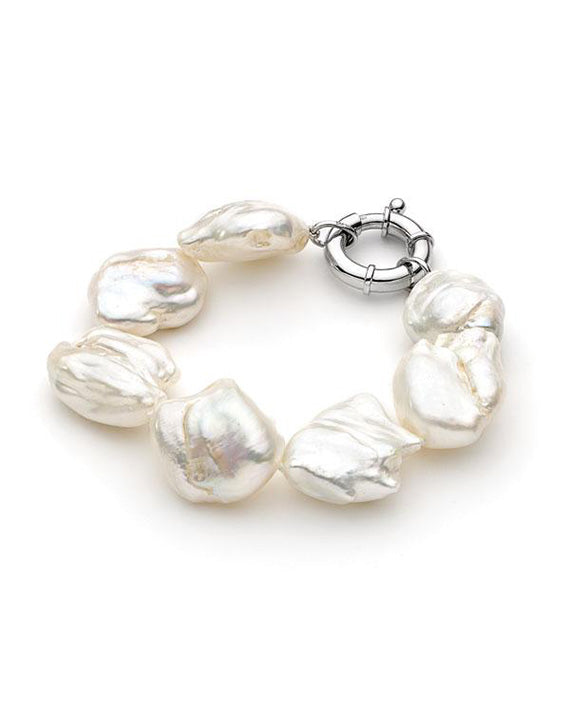 Sterling Silver Biwa 20-25mm Freshwater Pearl Bracelet 19cm with Bolt Ring Clasp - The French Door Jewellers