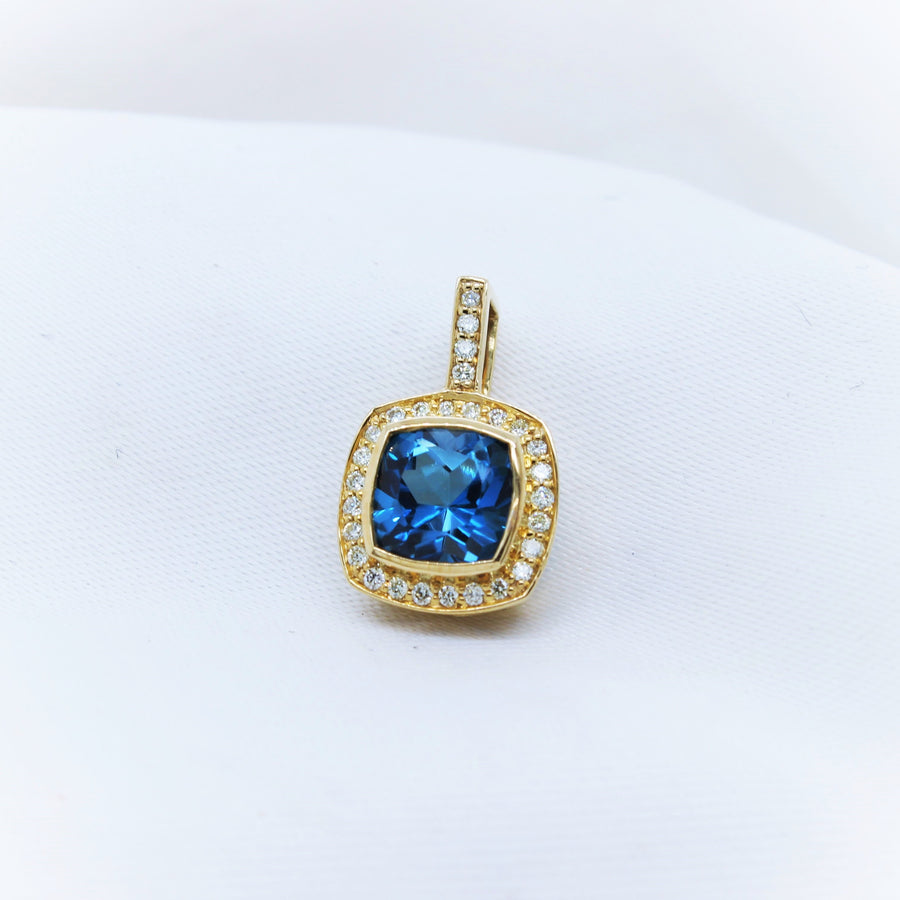 9K Yellow Gold Blue Topaz and Diamond Pendant - The French Door Jewellers