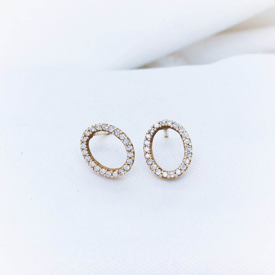 9k Yellow Gold Oval Diamond Studs - The French Door Jewellers