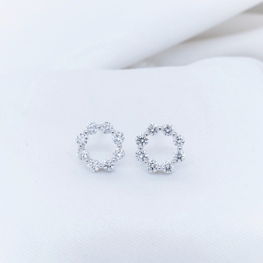 18K White Gold Diamond Stud Earrings - The French Door Jewellers