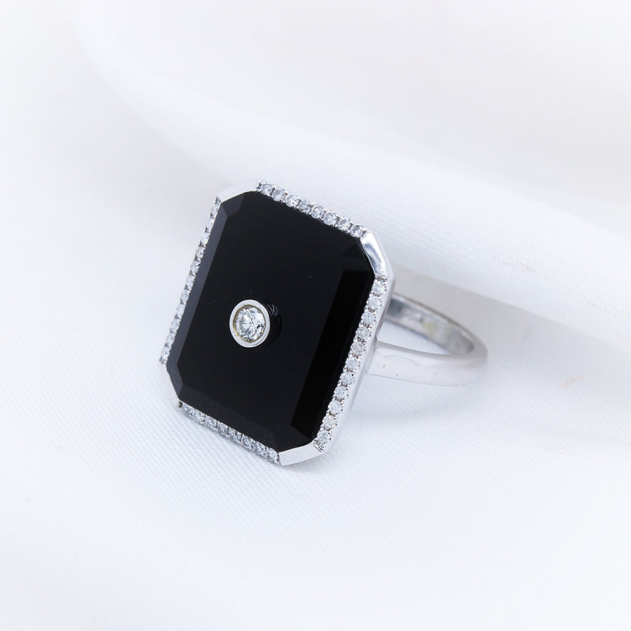 9K Onyx Diamond Ring - The French Door Jewellers