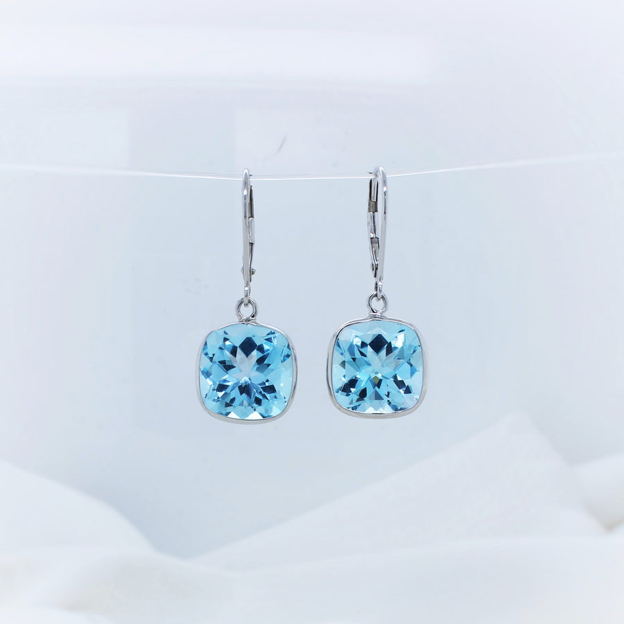 9K White Gold Blue Topaz Drop Earrings